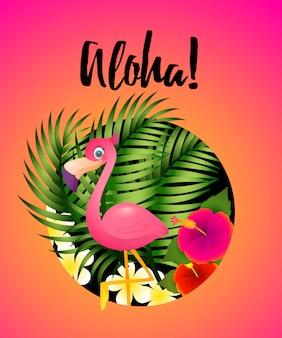 Letras de aloha con plantas tropicales y flamencos en círculo.