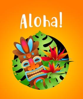 Letras de aloha con plantas tropicales y máscara tribal en círculo