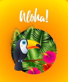 Letras de aloha con plantas tropicales y tucán en círculo.