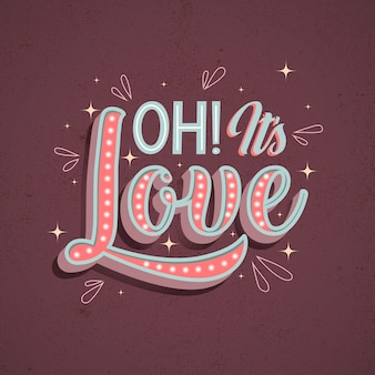 Letras de amor en diseño de estilo vintage
