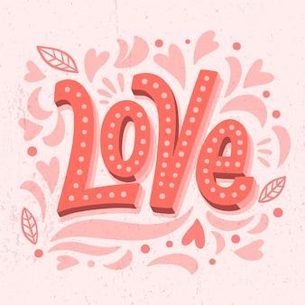 Letras de amor con hojas y siluetas
