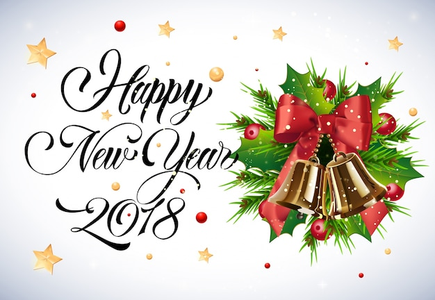 Letras de año nuevo con muérdago y campanas