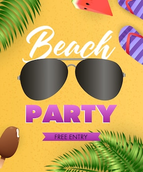 Letras de beach party, lentes de sol, chanclas, hojas tropicales.