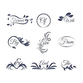 Letras de boda con diferentes adornos.