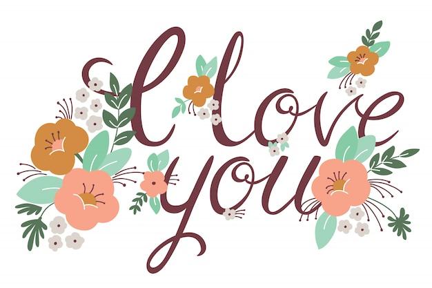 Letras de boda o día de san valentín con flores