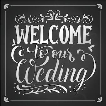 Letras de boda en pizarra
