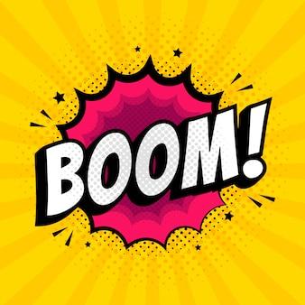Letras boom comic efectos de sonido de texto.