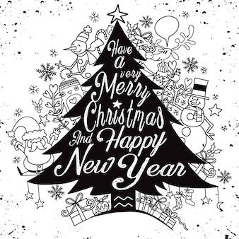 Letras de caligrafía árbol de navidad con lindos personajes caprichosos de navidad