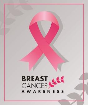 Letras de la campaña de cáncer de mama con cinta rosa y marco cuadrado de hojas
