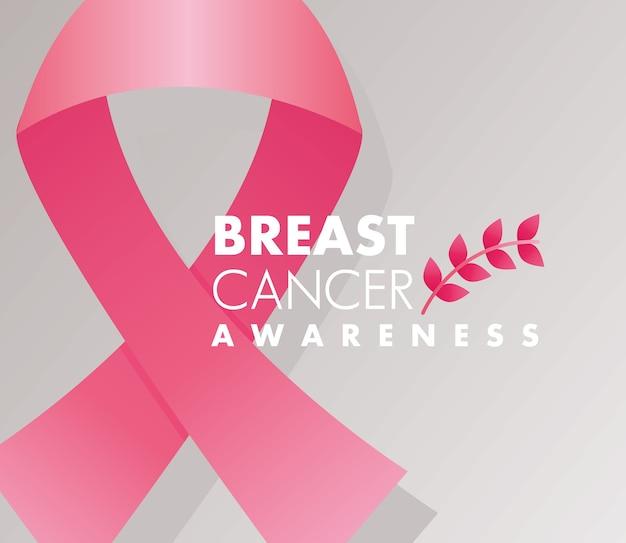 Letras de campaña de cáncer de mama con cinta rosa y rama