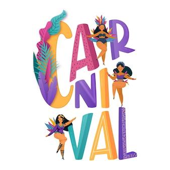 Letras de carnaval con mujeres en ropa de fiesta tradicional
