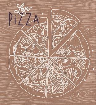 Letras de cartel amor pizza dibujo con líneas grises