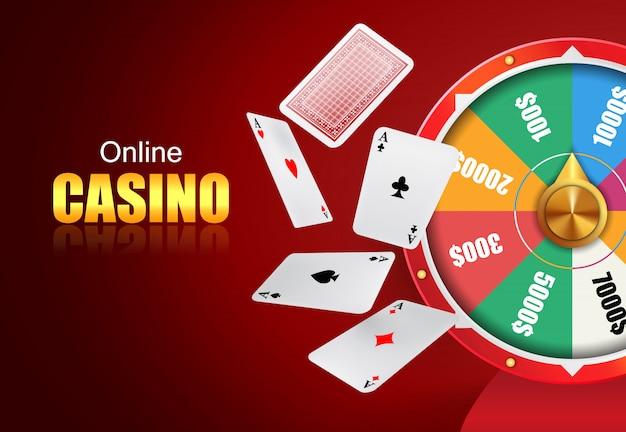 Letras de casino en línea, rueda de la fortuna y naipes voladores.