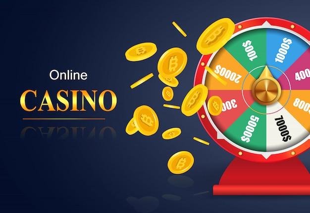 Letras de casino en línea, rueda de la fortuna, volando monedas de oro. publicidad de negocios de casino