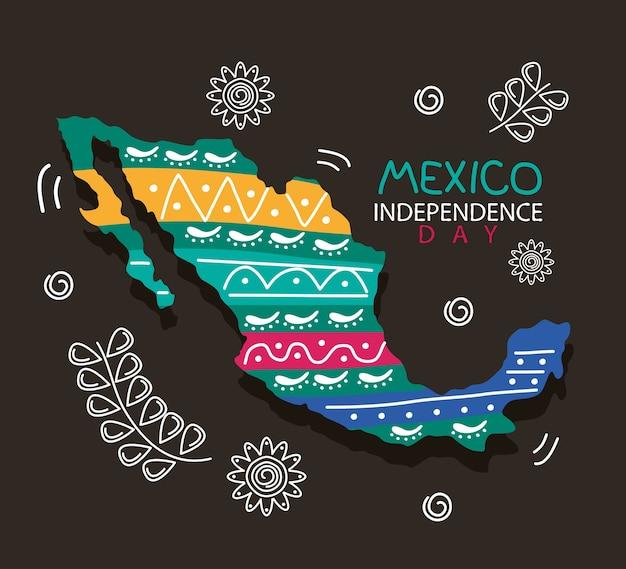 Letras de celebración del día de la independencia de méxico con mapa y flores