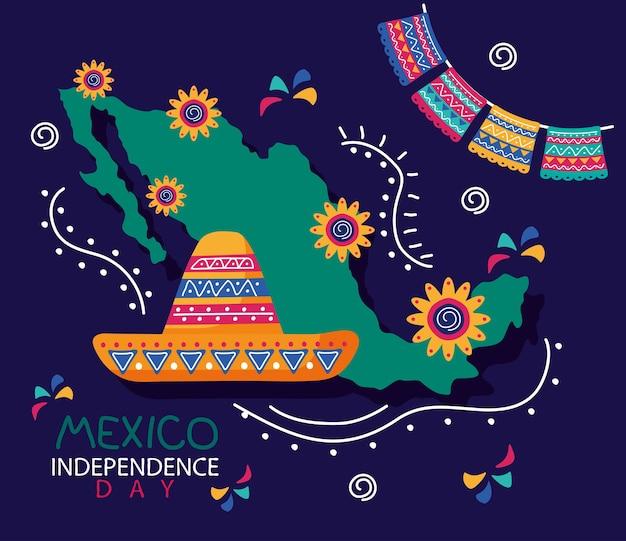 Letras de celebración del día de la independencia de méxico con sombrero de mariachi y mapa
