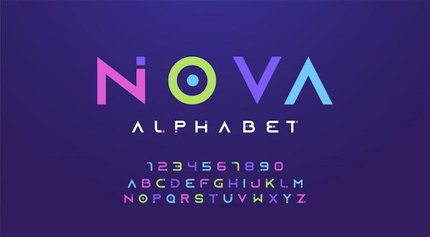 Letras de colores y fuente de números. alfabeto de colores