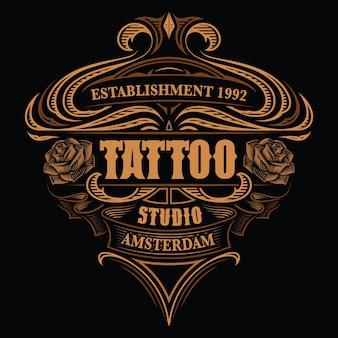 Letras de colores vintage para el estudio de tatuajes en el fondo oscuro. todos los elementos están en grupos separados