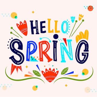 Letras coloridas de primavera hola