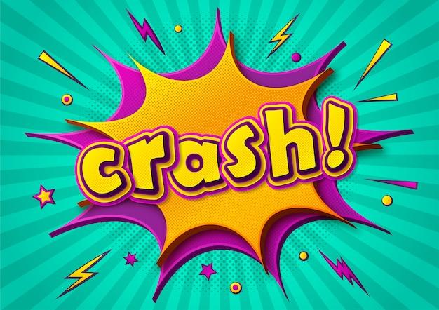 Letras de cómics crash en burbujas de discurso y diseño de rayas radiales
