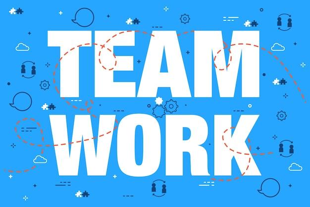 Letras de concepto de trabajo en equipo sobre fondo azul doodle