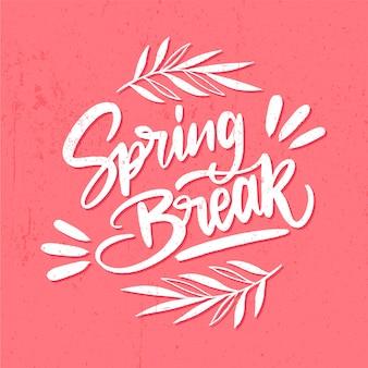 Letras y concepto de vacaciones de primavera