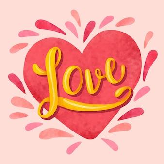 Letras de corazón y fuente dorada