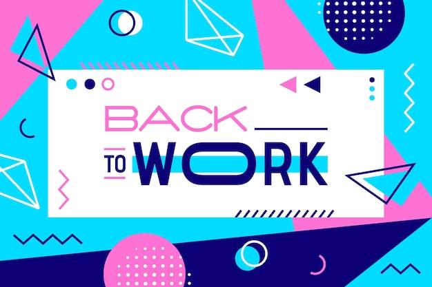 Letras creativas de regreso al trabajo en papel tapiz de estilo memphis