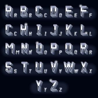 Letras de cromo 3d volumétricas vintage de metal. tipografía retro dimensional, icono metálico de diseño.