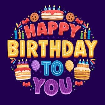 Letras de cumpleaños con elementos dibujados a mano