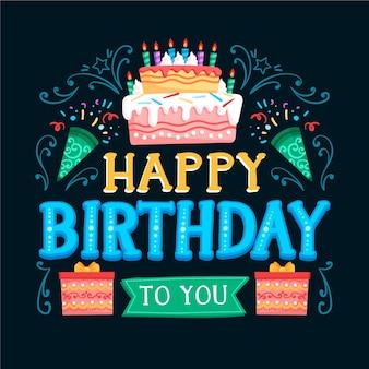 Letras de cumpleaños con pastel y regalos