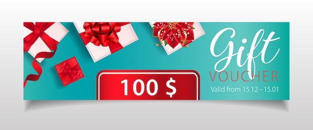 Letras de cupones de regalo con cajas de regalo y flor de flor de pascua