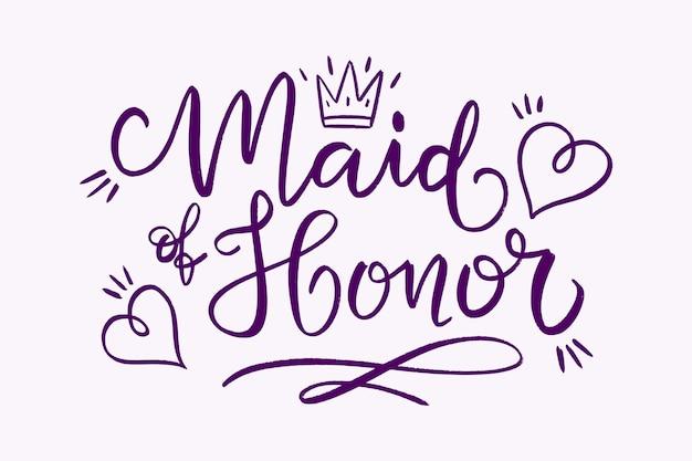 Letras de dama de honor dibujadas a mano
