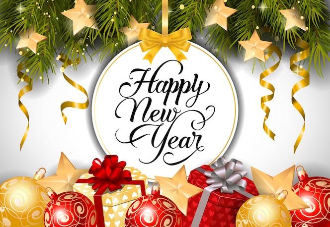 Letras de año nuevo en la etiqueta redonda