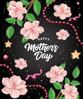 Letras de feliz día de la madre con guirnaldas y flores. tarjeta de felicitación del día de madres