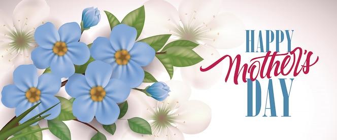 Letras de feliz día de la madre y flores azules. tarjeta de felicitación del día de las madres.
