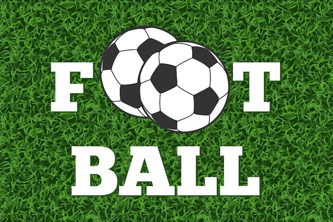 Letras de fútbol y pelota campo de hierba verde