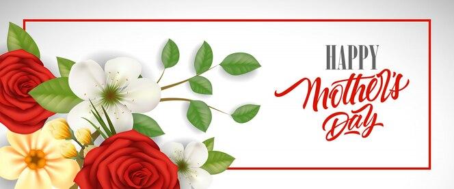 Letras de happy mother day en marco con hermosas flores. tarjeta de felicitación del día de las madres.