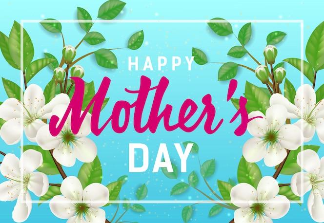 Letras de happy mother day en marco con ramitas de primavera. tarjeta de felicitación del día de las madres.