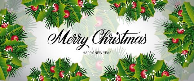 Letras de navidad con bayas y ramas
