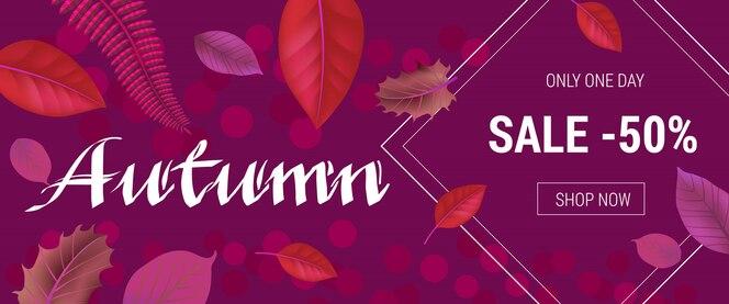 Letras de otoño con fondo de hoja. inscripción creativa dedicada a la venta de compras