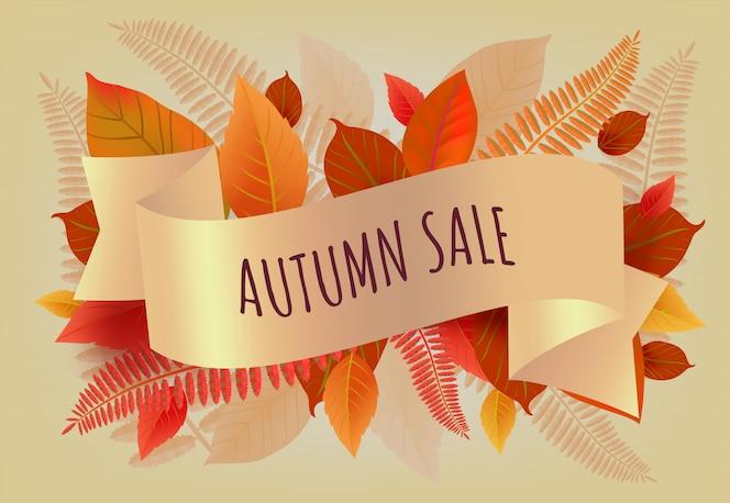 Letras de otoño venta con hojas de naranja y amarillas. oferta de otoño o publicidad de venta