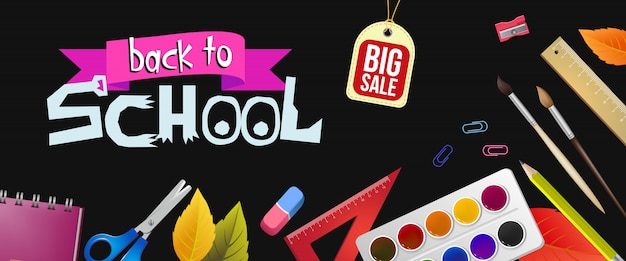 Letras de regreso a la escuela y etiqueta de gran venta con suministros