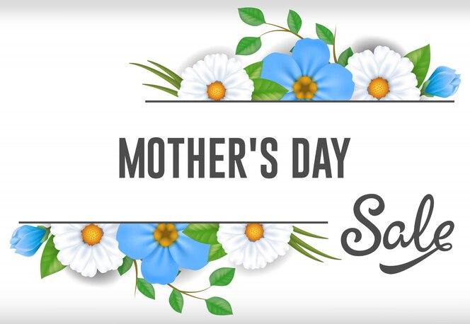 Letras de venta de día de las madres con flores azules y blancas. publicidad de venta del día de las madres.