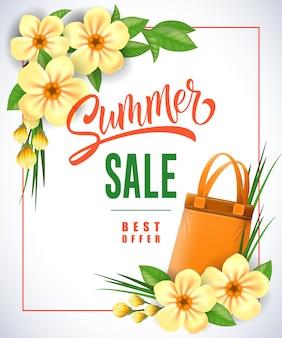 Letras de verano oferta mejor oferta en marco con bolsa de compras y flores