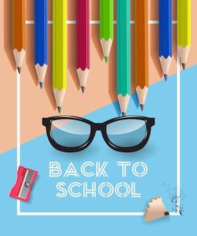 Letras de vuelta a la escuela en marco, gafas y lápices