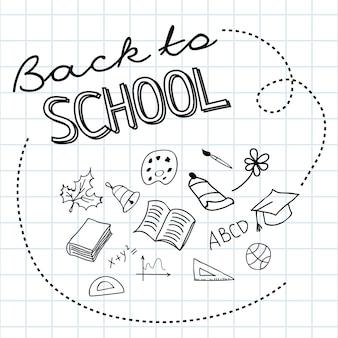 Letras de vuelta a la escuela en papel cuadrado y garabatos dibujados a mano