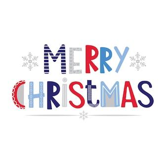 Letras decorativas de feliz navidad en blanco