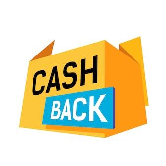 Letras de devolución de efectivo con tarjeta azul y elemento de origami amarillo.