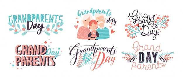 Letras del día de los abuelos. diferentes inscripciones coloridas dibujadas a mano con fuentes rizadas y elementos decorativos.